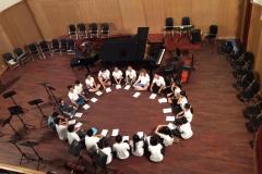 Pre show motivation session, concert hall, Ho Chi Minh Conservatoire